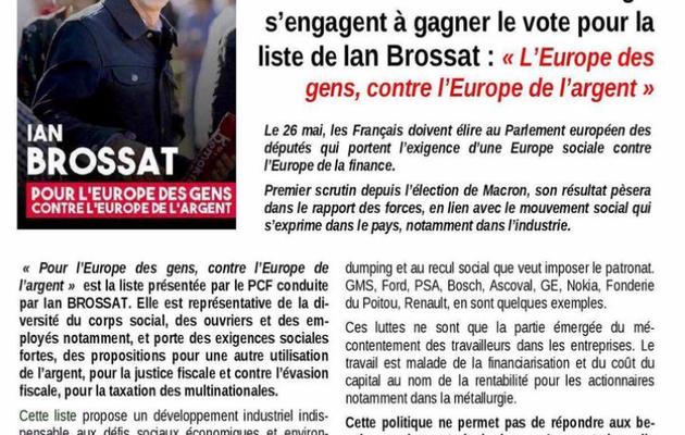 100 militants de la métallurgie appellent à voter Ian Brossat !