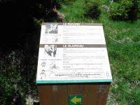 Le long du sentier de découverte, des panneaux explicatifs et l'alpage de l'Alpettaz.
