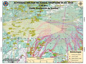 Maps of scattering of ashes on 29/07/16, and Guatemala under the ashes of Fuego / Conred -  a click to enlarge.