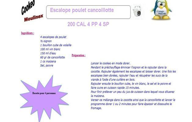 Escalope poulet concoillotte weight watchers cookeo