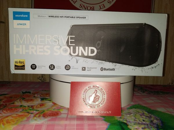 unboxing enceinte nomade Bluetooth 5.0 apt-X certifiée Hi-Res Audio Soundcore Motion+ @ Tests et Bons Plans