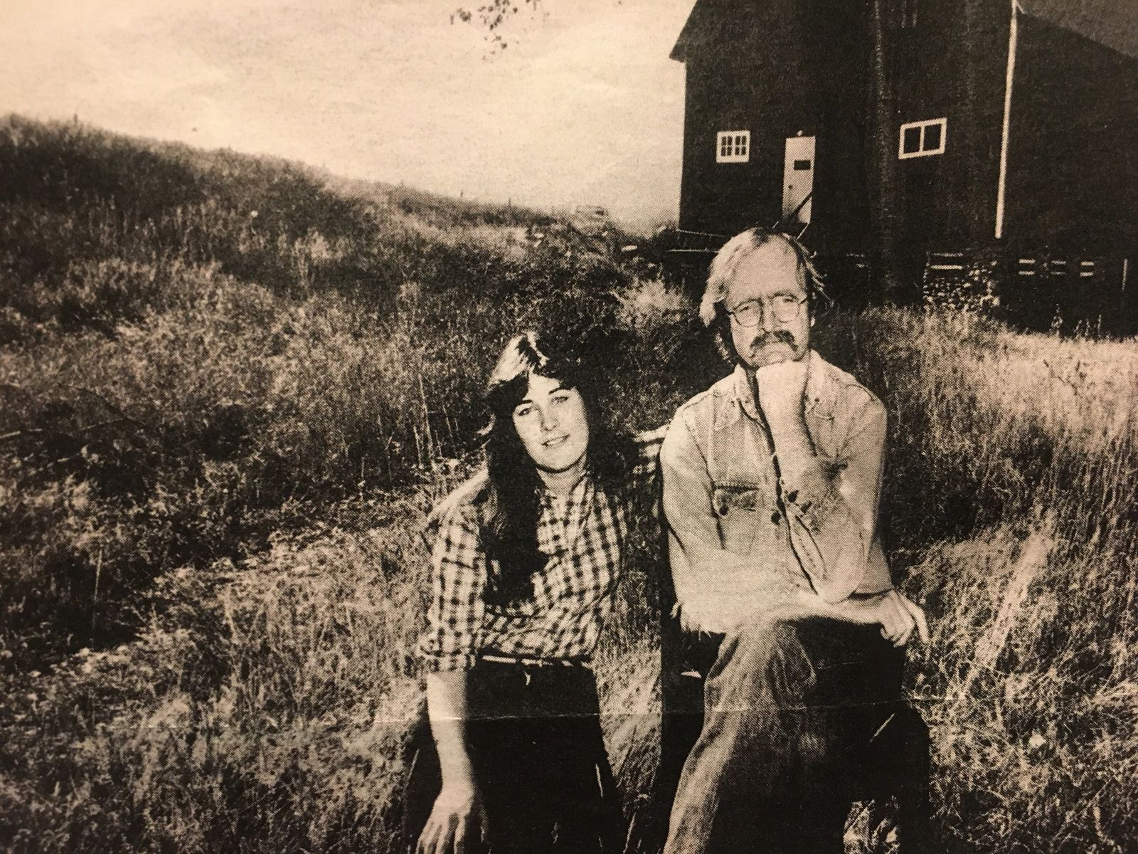 The writer, in front of his ranch in Montana with his daughter in 1980