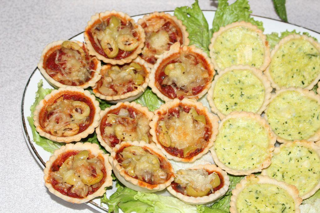 Mini pizzas & Mini quiches aux courgettes et chèvre