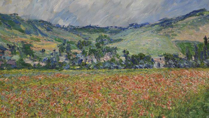 Champ de coquelicots, environs de Giverny (1885) est l'un des quatre tableaux de Claude Monet sans propriétaire. Musée des Beaux-Arts de Rouen