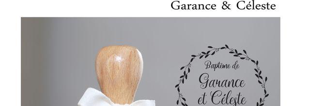 tampon baptême sur mesure de Garance et Céleste ... couronne d'olivier