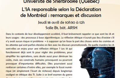 """Conférence """"L'IA responsable selon la Déclaration de Montréal : remarques et discussion"""""""