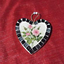 Coeur mosaique de verre et faience