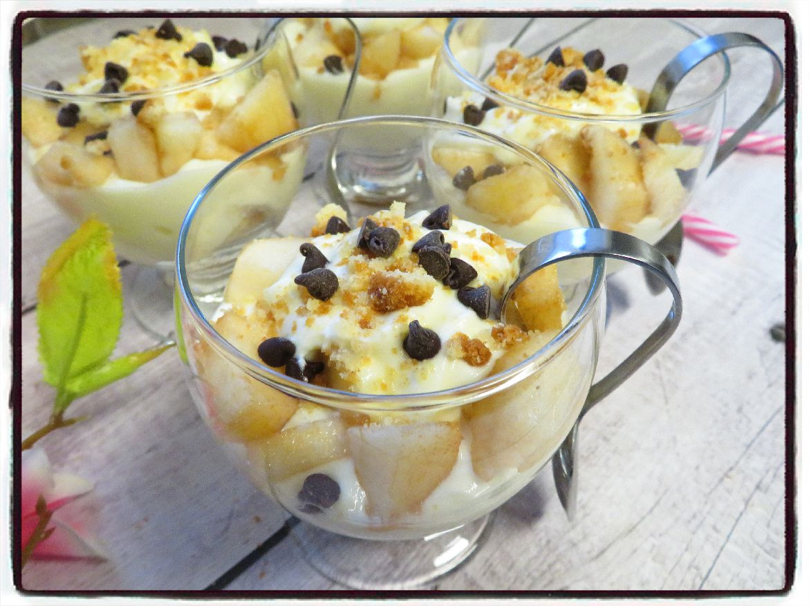 verrines poire fromage blanc palets bretons