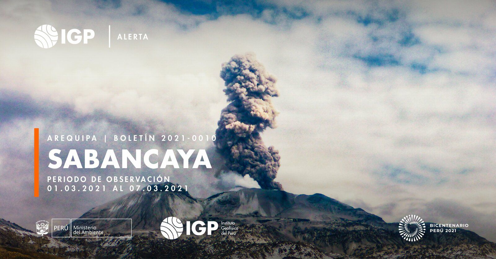 Sabancaya - activity between March 1 and 7, 2021 - Doc. I.G. Peru