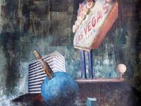 Collage peint initial, et 2 réinterprétations sur une base de raclages, par Sylvie D. (Cliquez pour voir les images en entier).