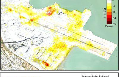 #USA : #California  L 'aéroport de San Francisco s'est effondré et une nouvelle analyse montre que le taux n'a pas ralenti = Certaines parties reculent de plus de 1 cm / an. + Trottoirs qui coulent à San Francisco