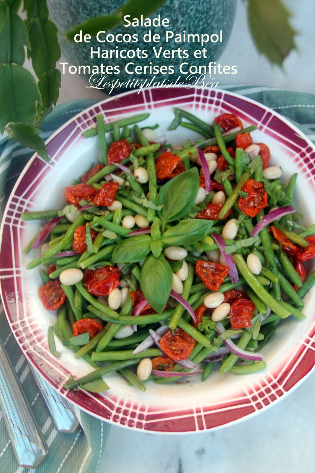 Salade des cocos et haricots verts aux tomates cerises confites