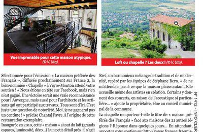 la presse locale en soutien à la chapelle en Auvergne