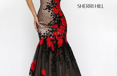 Sherri Hill 11326 Black/Red Long Prom Gown 2018