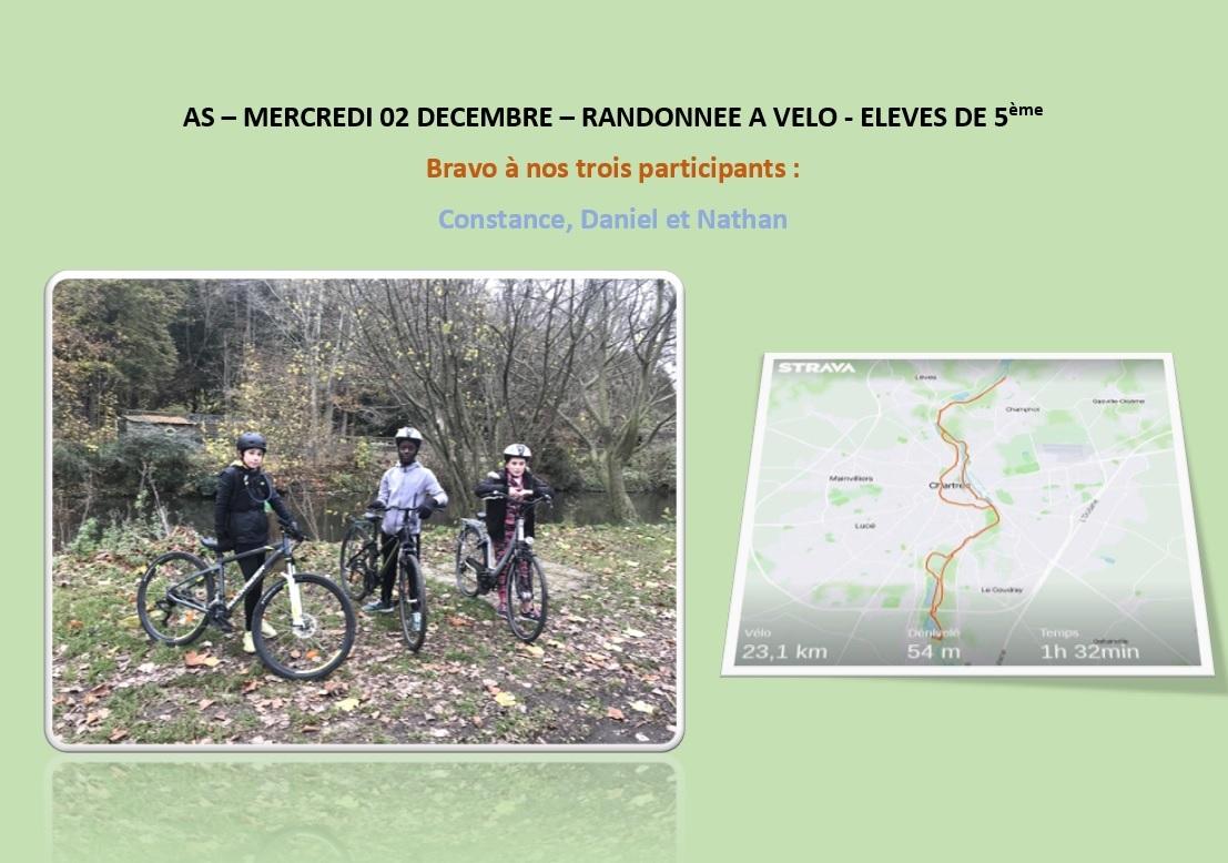 AS-Mercredi 02 Décembre - Randonnée à vélo (élèves de 5ème)