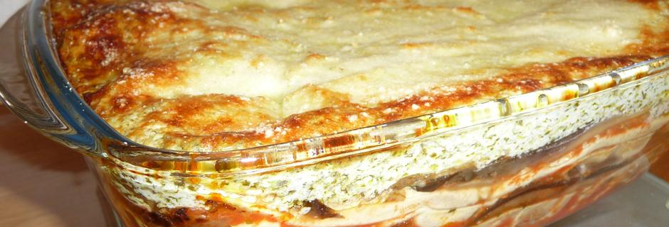 Lasagnes aubergines ricotta pesto