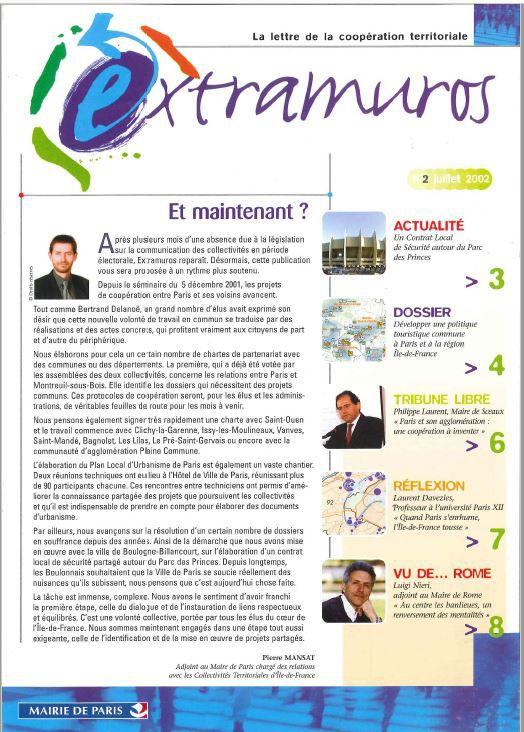 Extramuros, une publication pour penser les relations Banlieues/Paris & le Grand Paris/la métropole. années 2000 N°2