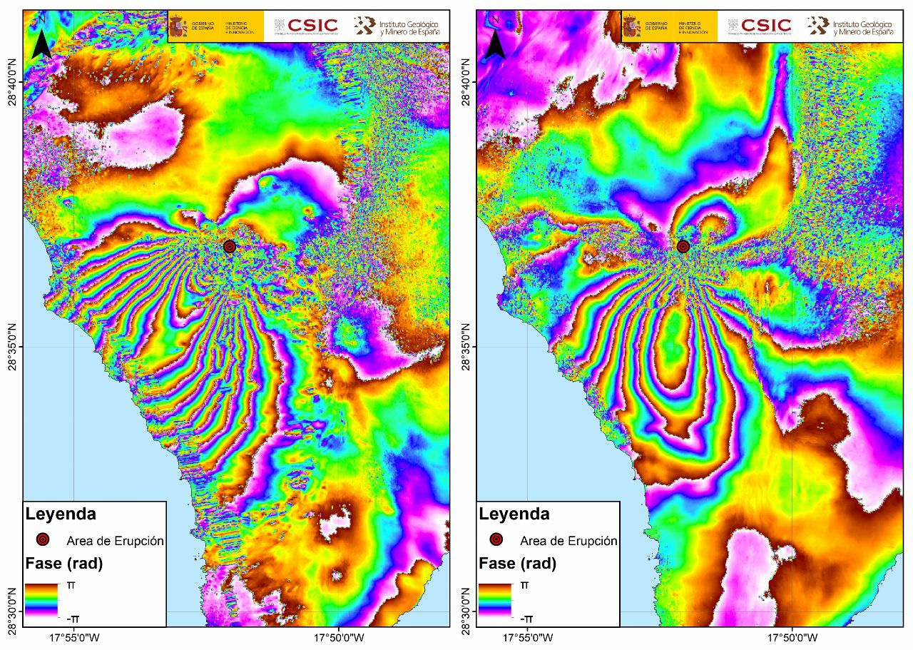 La Palma - Differential interferogram in ascending geometry between the dates of September 14-20, 2021 (left) and differential interferogram in descending geometry between the dates of September 16-22, 2021 Geohazards InSARLab (IGME-CSIC) Differential interferogram in ascending geometry between dates September 14-20, 2021 (left) and differential interferogram in descending geometry between dates September 16-22, 2021 (right), produced with Copernicus Sentinel-1 images. The negative direction of the bands indicates the approaches of the terrain to the satellite, while the areas with a positive direction indicate the distances from it. Each colored band represents ~ 2.8 cm of ground movement relative to the satellite. - Geohazards InSARLab (IGME-CSIC)