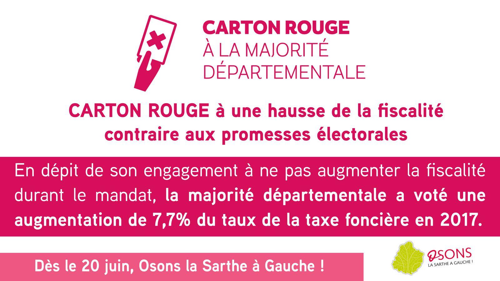 Hausse de la fiscalité : notre carton rouge à la majorité départementale