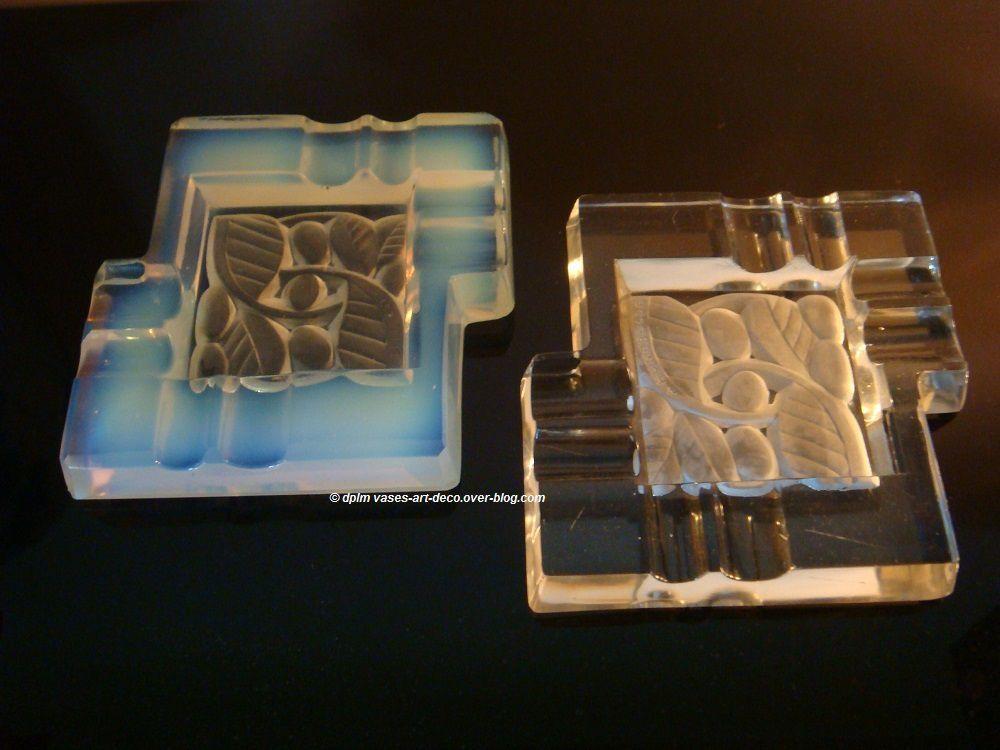Cendriers feuilles grand modèle : Opalescent et blanc transparent
