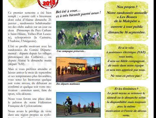 Le Cyclo Club de la Malepère dans le bulletin municipal