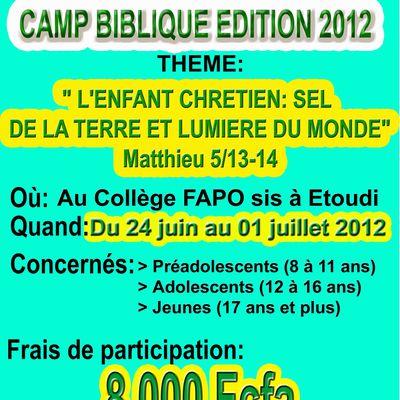 CAMP BIBLIQUE EDITION 2012