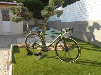 Le résultat final est vraiment top, mis à part la peinture qui peut ne pas plaire à tout le monde mais encore faut-il la voir de près car la teinte change suivant l'angle avec lequel la lumière arrive sur le vélo, passant ainsi du vert au or avec toute la palette de couleur intermédiaire.