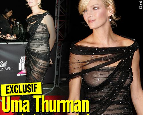 EXCLUSIF / Uma Thurman en robe transparente !