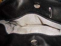 Pochette minimaliste cuir et velours noir , noeud paillette