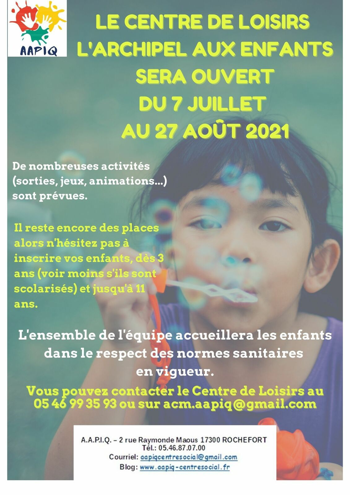 CENTRE DE LOISIRS - OUVERTURE ÉTÉ 2021