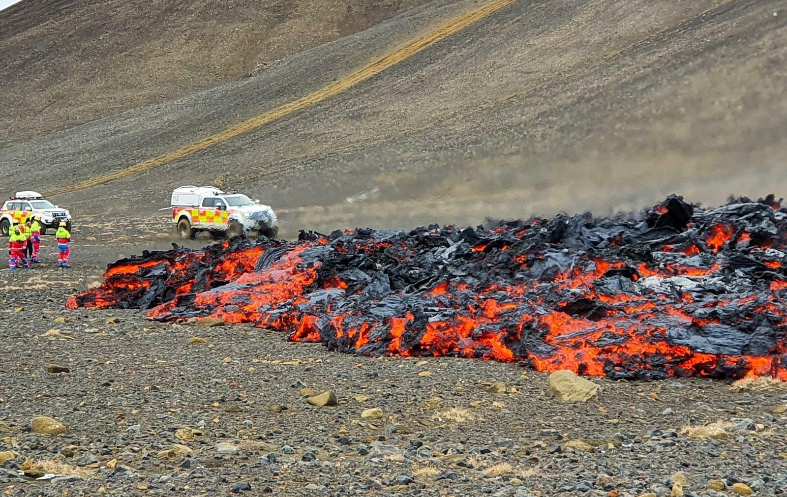 Meradalur - la coulée de lave proche du camp le 05.04.2021 -  photo Björgunarsveitin Þorbjörn