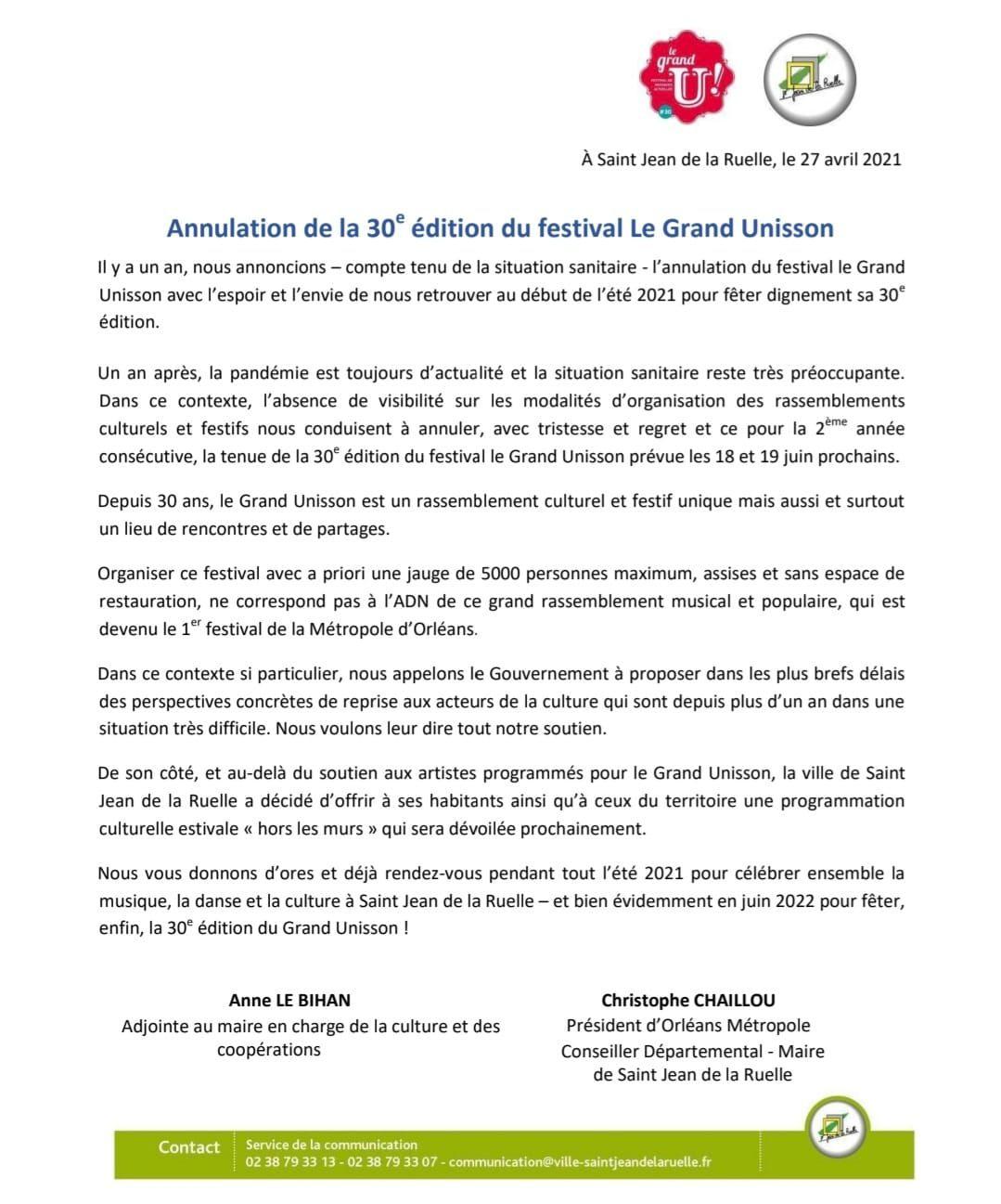 La ville de St Jean de la ruelle ANNULE L'ÉDITION 2021 DU FESTIVAL GRAND UNISSON