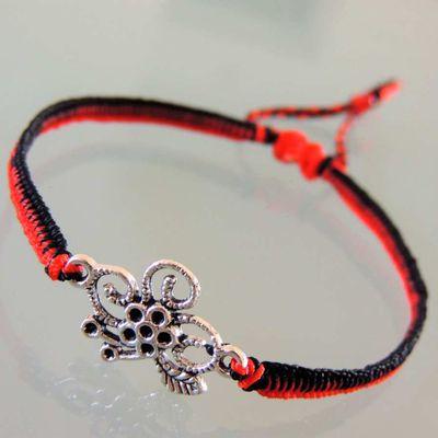 bracelet macramé bicolore noir et rouge avec connecteur fleur