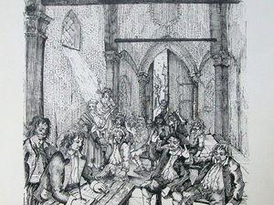 Le menuisier Rémy Raby ; Raby assiste à la rédaction des cahiers de doléances dans l'église ©dessins Jacqueline Clavreul (Cliquez pour agrandir)