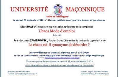 Le Chaos : Conférence avec Marc Halévy et Jean-Jacques Zambrowski le samedi 26 septembre à 10 h sur Zoom. Université Maçonnique