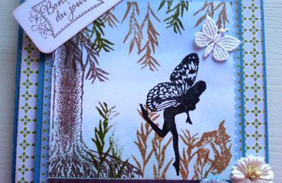 Premières cartes avec mes tampons elfiques : Merci Hélène !