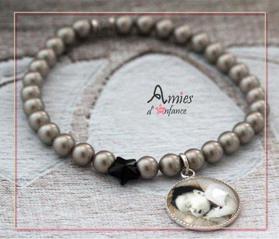 bracelet perles swarovski avec pendentif photo personnalisé