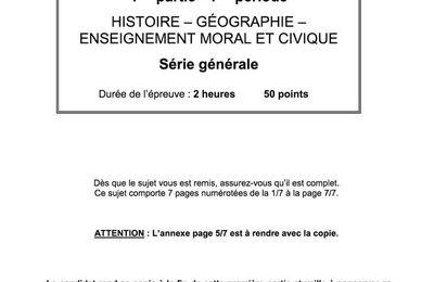 DNB Histoire-Géographie : le sujet de l'épreuve de 2017