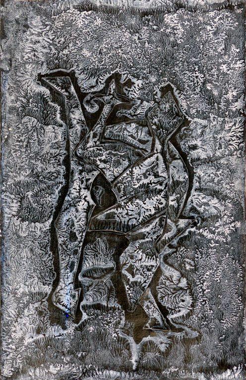 Lucienne Cywier - Sujet n°240 - Chimères - acrylique sur papier (50 x 32,5 cm)