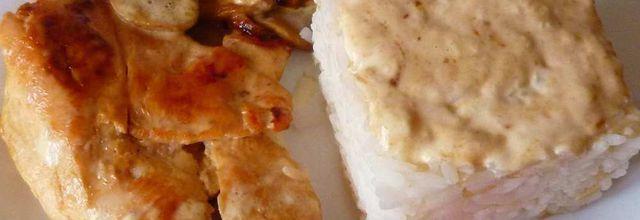 escalope de poulet aux champignons, crème et riz