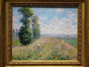 Dans l'ordre : Gauguin (Paysage avec 2 femmes bretonnes), Pissaro (Pontoise en hiver), Monet (Champ de coquelicots), Monet (Nénuphards), Van Gogh ( Maisons d'Auvers), Van Gogh (Ravin de Peiroulets), Renoir (Rochers à L'Estaque), Manet (Victorine Meurent) Bon, là il suffit de cliquer sur la première et vous pouvez faire défiler le diaporama avec les photos en entier... trop bien !