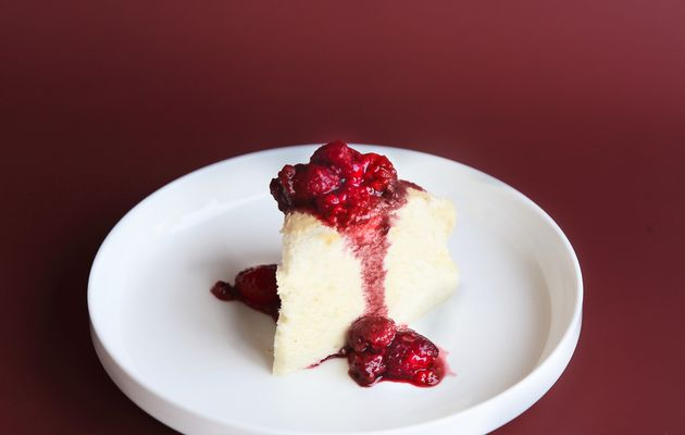 Japanese cheesecake et coulis de framboises