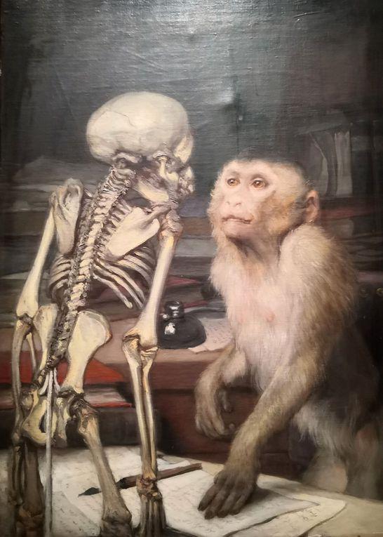 Gabriel von Max (1840-1915), Singe devant un squelette, Vers 1900, Huile sur toile, Collection particulière