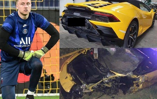 Le gardien du PSG, Marcin Bulka, fait perdre 200 000 £ à Lamborghini loué dans un accident d'horreur alors qu'il était en lock-out en Pologne (Photos)