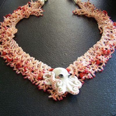 collier corail pieuvre