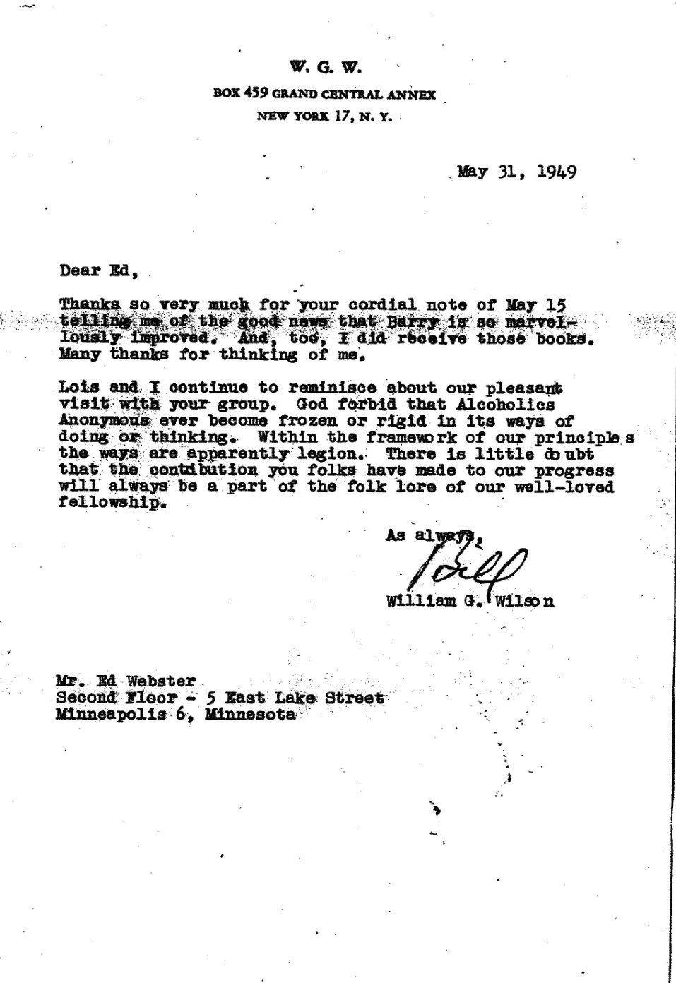 31 Mai 1949 : lettre de Bill W. à Ed Webster