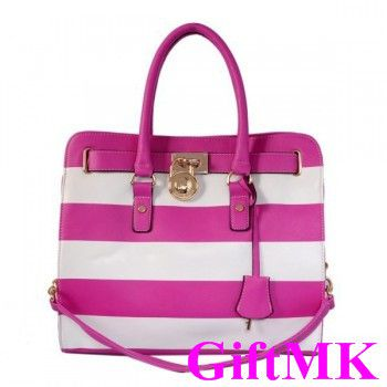 Michael Kors Striped Travel Large Pink White Tote Bags Outlet