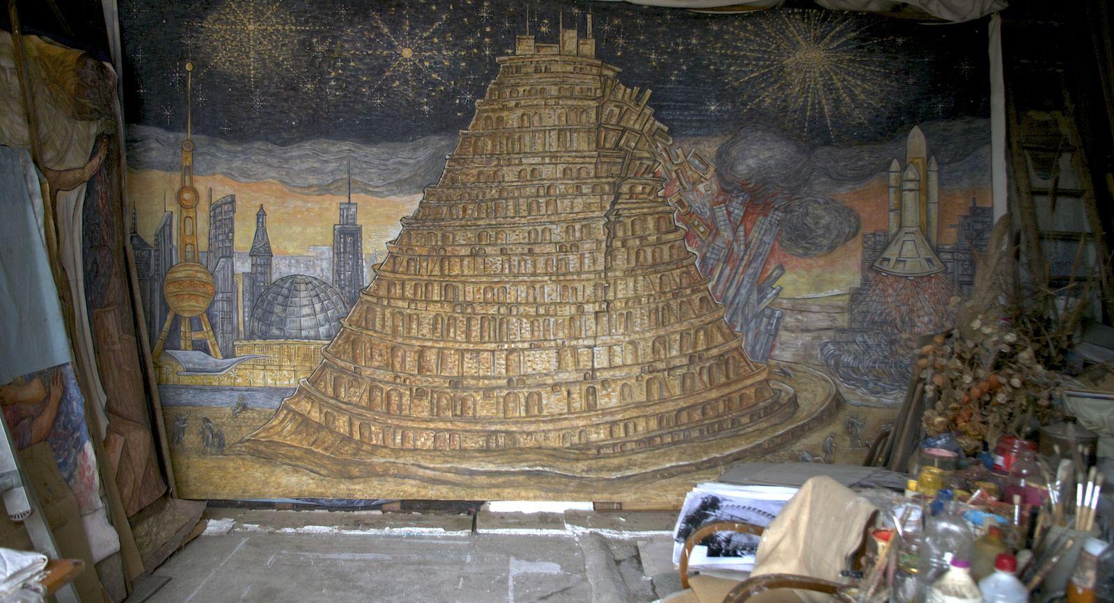 """""""La Tour de Babel"""" Tempera sur toile - 500 cm x 300 cm - R. Dumoux"""