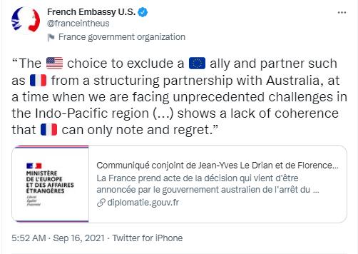 Tweet: La fureur de l'ambassade de France à Washington