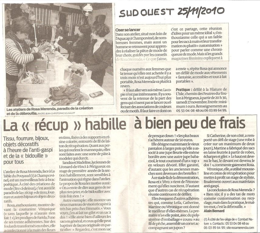 Divers Articles de Presse,Rosa et Association.